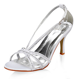 Satin Upper High Heel Sandals With Rhinestone Wedding Bridal Shoes