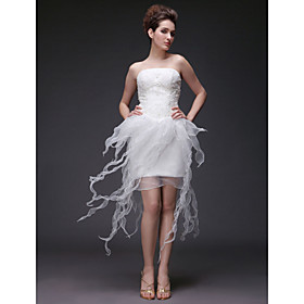Sheath/ Column Strapless Short/ Mini Organza Lace Wedding Dress