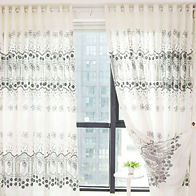 Embroidery Contemporary Thick Sheer Curtains (Pair)