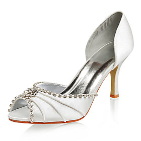 Satin Upper Peep Toe With Rhinestone Wedding Shoes More Colors Available