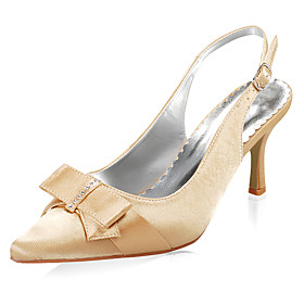 Top Quality Satin Upper Mid Heel Pumps With Bowknot Wedding Shoes/ Bridal Shoes