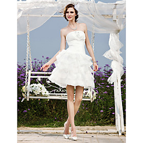 A-line Strapless Short/ Mini Organza Taffeta  Wedding Dress