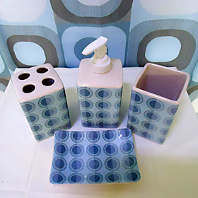 20-Piece Blue Circle Ceramic Bath Ensembles With Shower Curtain