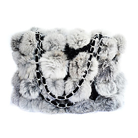 Fashion Shoulder Bag/Tote In Genuine Rabbit Fur (More Colors)