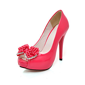 Patent Leather High Heel Peep Toe Pumps With Rhinestone And Bead Bow (More Colors)