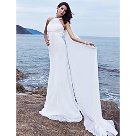 Sheath/ Column Halter Watteau Train Chiffon Satin Wedding Dress