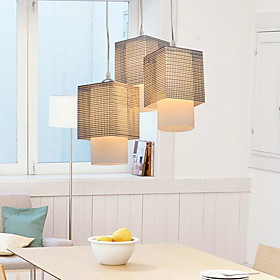 120W Pendant Light with 3 Lights in Cubic Metal Lampshade