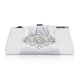 Silk with Crystal/Rhinestone Evening Handbags/Clutches/Cross-Body Bags
