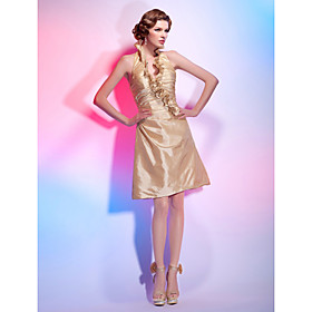 A-line Halter Kneck Knee-length Taffeta Cocktail Dress