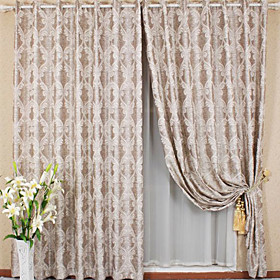 Simple European Jacquard Window Curtains (Pair)