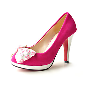 Suede Two Tone High Heel Pumps With Button Bow (More Colors)