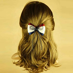 TS Handmade Red and Blue Ribbon Spring Hair Clip