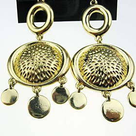 Exaggerated Gold Pendant Earrings