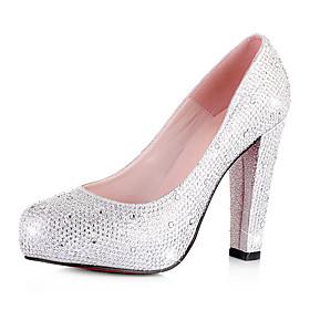 brillo chispeante de la bomba tacón grueso, con zapatos de boda de diamante de imitación (más colores)