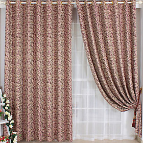 Jacquard Windproof Casual Red Window Curtains (Pair)