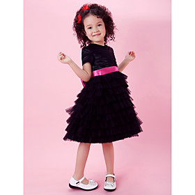 A-line Knee-length Tulle And Satin Flower Girl Dress With High Neck