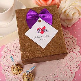 Personalized Gold Rectangular Favor Box With Purple Bow (Set of 24)