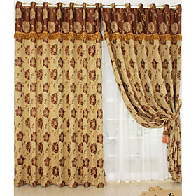 Wrinkle-Resistant Flowers Casual Jacquard Window Curtains (Pair)