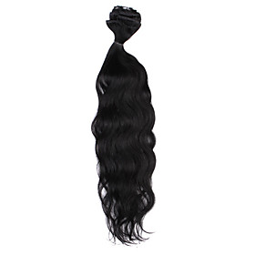 22 Inch 9 Pcs 100% Human Hair Body Wave Clips In Hair Extensions 11 Colors Available