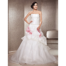 A-line Strapless Chapel Train Taffeta And Organza Wedding Dress