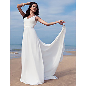 Sheath/ Column V-neck Floor-length Chiffon Wedding Dress With Removable Train