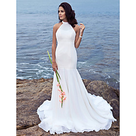 Trumpet/ Mermaid Halter Sweep/ Brush Train Chiffon Wedding Dress