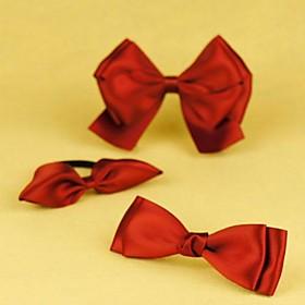 TS Handmade Aegean Bow Hairclip Set (1 Hair Tie 2 Hair Clip)