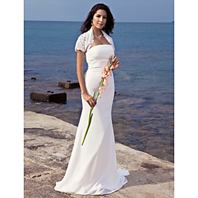 Trumpet/ Mermaid Strapless Sweep/ Brush Train Chiffon Wedding Dress With Lace Wrap