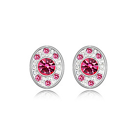 Round Colored Crystal And Alloy Earrings (More Colors)