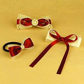 TS Handmade Bright Red Hair Clip Set (1 Hair tie 2 Hair Clip)