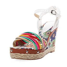 Colorful Leatherette Wedge Sandals With Ankle Strap (More Colors)