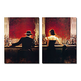 Hand-painted People Oil Painting with Stretched Frame - Set of 2