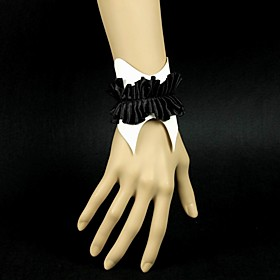 Black and White Ruched Leather Wristband Bracelet