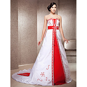 A-line Strapless Chapel Train Satin Wedding Dress With Embroidery
