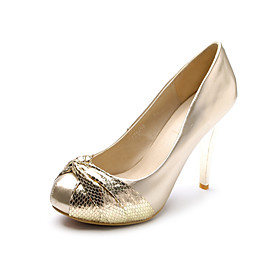 Patent Leather Metallic High Heel Pumps With Ruched Detail (More Colors)