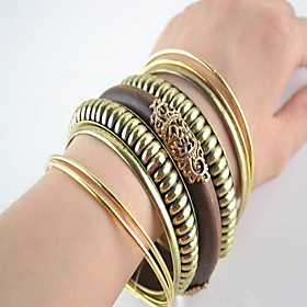 Tribal Gold Wooden Alloy Mix Bangles