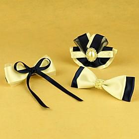 TS Handmade Venetian Blue Bow Hair Set (2 Hairpin and 1 Brooch)