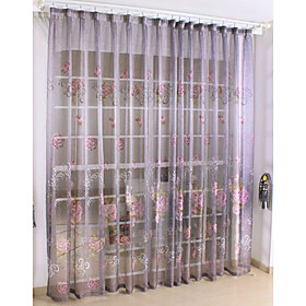 Purple Casual Print Sheer Curtains (Pair)