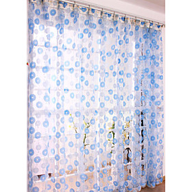 Casual Blue Print Sheer Curtains (Pair)