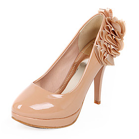 Patent Leather High Heel Round Toe Pumps With Flower (More Colors)