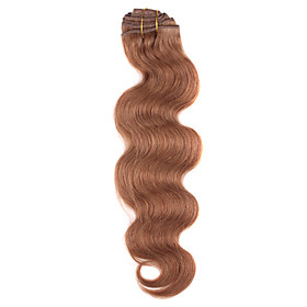 18 Inch 9 Pcs 100% Human Hair Body Wave Clips In Hair Extensions 11 Colors Available