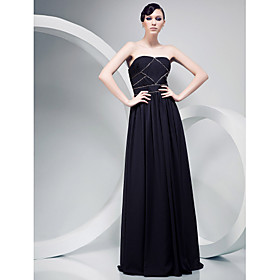 Chiffon Over Satin A-line Strapless Floor-length Evening Dress inspired by Mark Salling