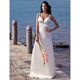 Sheath/ Column Straps V-neck Court Train Elastic Woven Satin Wedding Dress