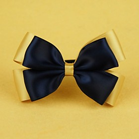 Blue and Gold Bow Hair Tie