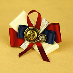 TS Handmade Red and Blue Hair Brooch