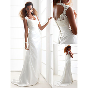 Sheath/ Column Scoop Court Train Elastic Silk-like Satin Wedding Dress