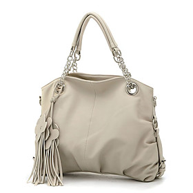 Stylish Lady's PU Handbag With Tassels / Chains Handles