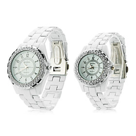 Pair of Fashionable Metal Analog Quartz Wrist Watches with Diamonds (White)