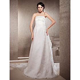 A-line Strapless Court Train And Organza Lace Wedding Dress