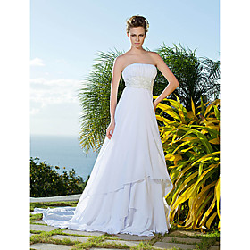 Empire Sheath/Column Strapless Chiffon And Lace Wedding Dress